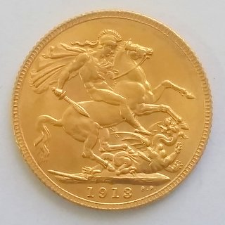 Great Britain 1913 22 carat Gold George V Sovereign Coin.London Mint. Choice UNC. Boxed.
