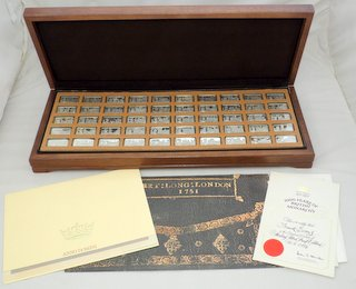 John Pinches 1000 years of British Monarchy Silver Proof Collection of 50 Ingots.