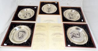 John Pinches Signed  Bernard Buffet Sterling Silver Limited Edition Wild Animal Plates