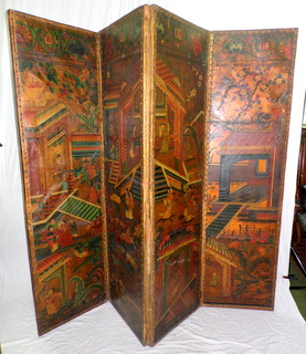 A Fine Dutch Hand Painted Chinoiserie Rectangular Leather Four-Leaf Screen. Late18thc.