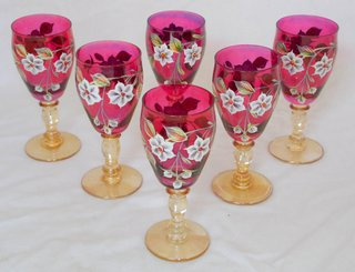 Bohemian Crystal Enamel Hand Painted Set of Six Cranberry/Gold Knop Stem Wine Glasses.  Height  6 inches.  (6 Items)