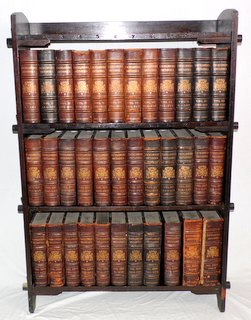Complete Antique Set of 35 Leather Bound Encyclopedia Britannica's from 1875-1903 (9th edition). To include:33 enclclopedias, 1 volume of maps and 1 Index complete with original oak bookcase made for the set. Height 51 in.  Width 35 in. Depth 10 in.