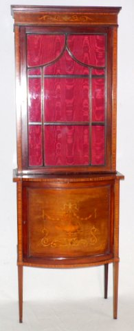 Edwardian Antique Sheraton Revival Bowfronted Mahogany Inlaid Display Cabinet. Early 1900s. Height 75 in. Width 26 in.  Depth 16 in.