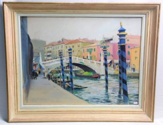 Roger Chapelet France (1903-1995). Original Painting 'Ralto Bridge' Venice. Chapelet is considered one of the three great 20th century painters of the French Navy. Signed lower left with anchor. Framed under glass 31 x 25 inches.