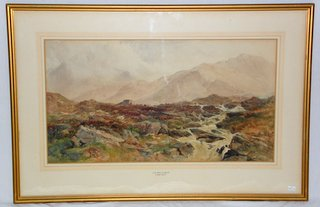 Local Interest James William Whittaker (1828 - 1876) Mountain Stream Snowdonia North Wales Watercolor. Signed  J.W.Whittaker lower left. Gilt framed under glass 35 x 23.5 inches.