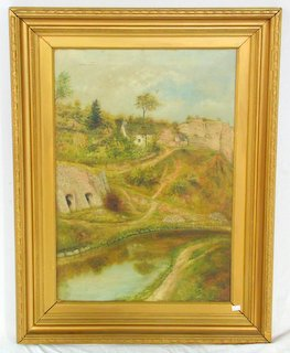 Local Interest Marian E Davies Victorian Oil on Canvass 'Lime Kilns' alongside the Montgomery Canal at Pant. Signed lower right Marian E Davies and to verso with date July 1880. Gilt framed  33 x 25 inches.